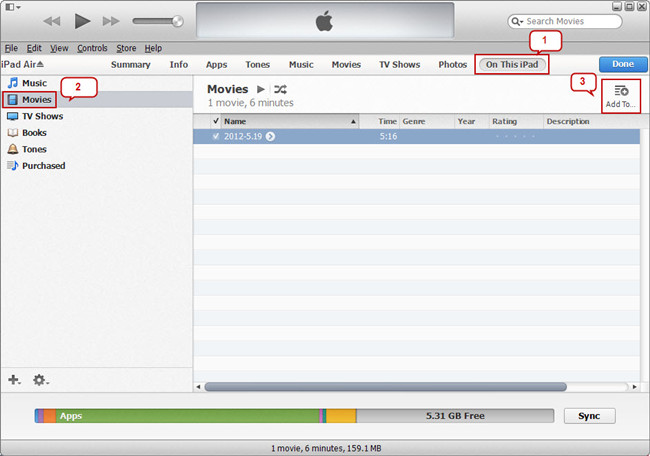 add movie file to ipad air in itunes
