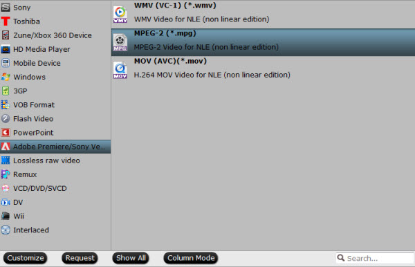 Encode OBS FLV files to Windows Editor Adobe-mpeg-2
