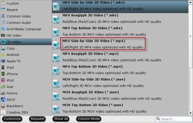 play 3D Blu-ray on Android with 3d mp4
