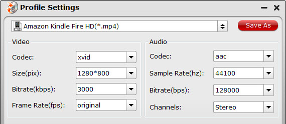 Kindle Fire HDX video settings