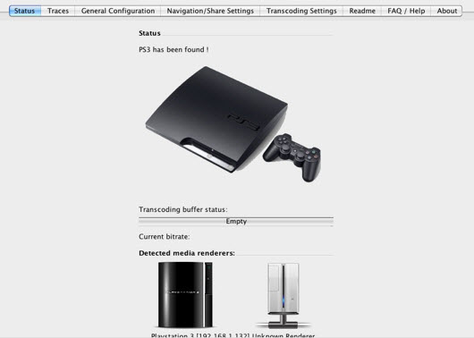 Connect PS3 with the Media Server